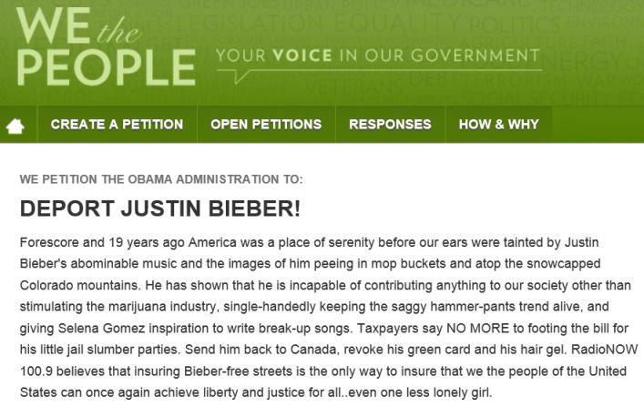 bieber petition