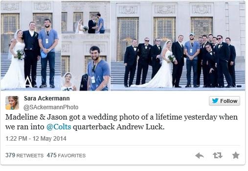 andrew luck wedding photo bomb