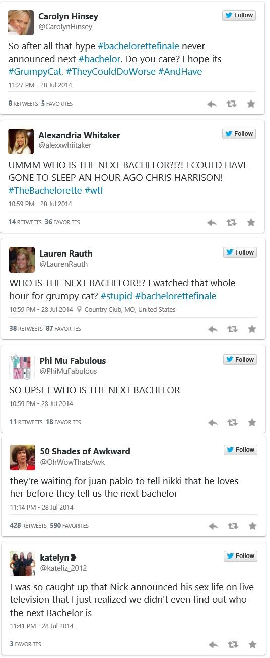 bachelor tweets