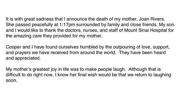 Melissa Rivers Statement