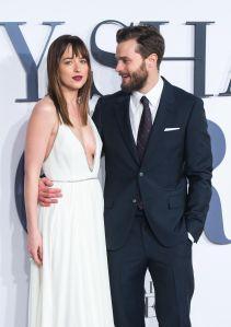 Jamie Dornan and Dakota Johnson attend the UK Premiere of 'Fifty Shades Of Grey'