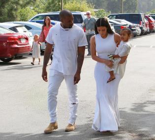 Kanye West & Kardashians Attend Easter Service