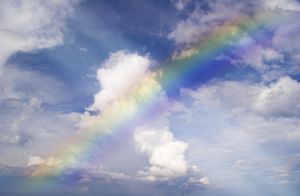 Abstract rainbow on the sky with clouds
