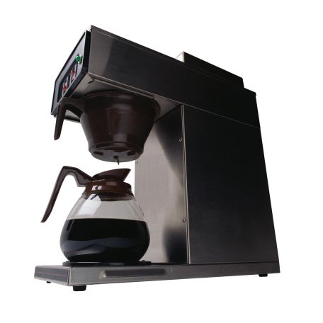 Pot of coffee brewing on automatic drip machine