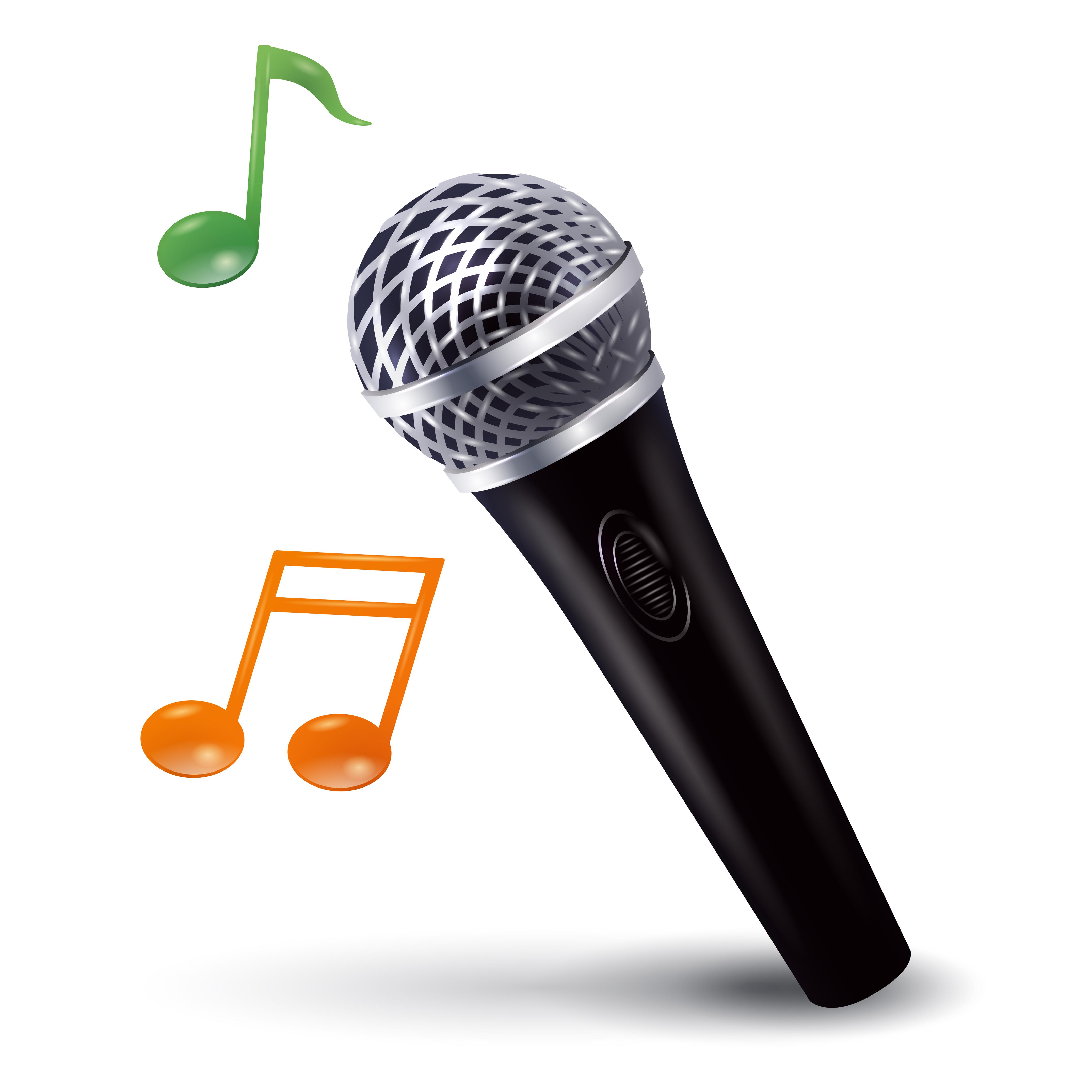 Illustration of microphone with musical notes