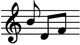 Music notes in black and white