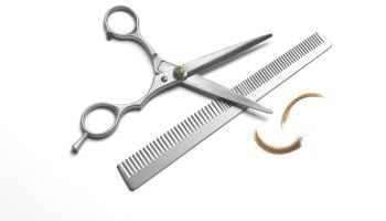 Hairdresser scissors and comb on white background