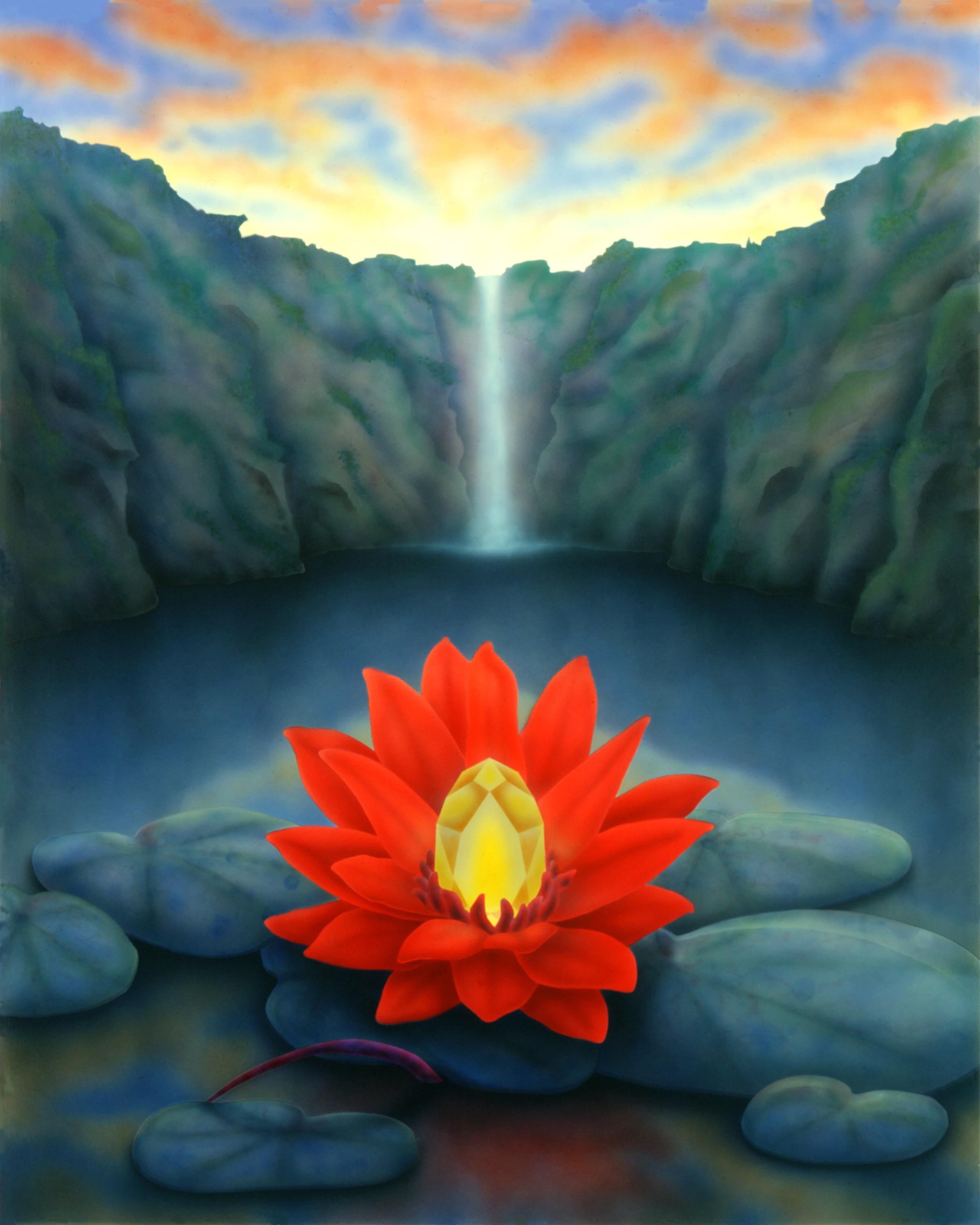 illustration of lotus blossom on rocks by mountain lake with waterfall at sunrise