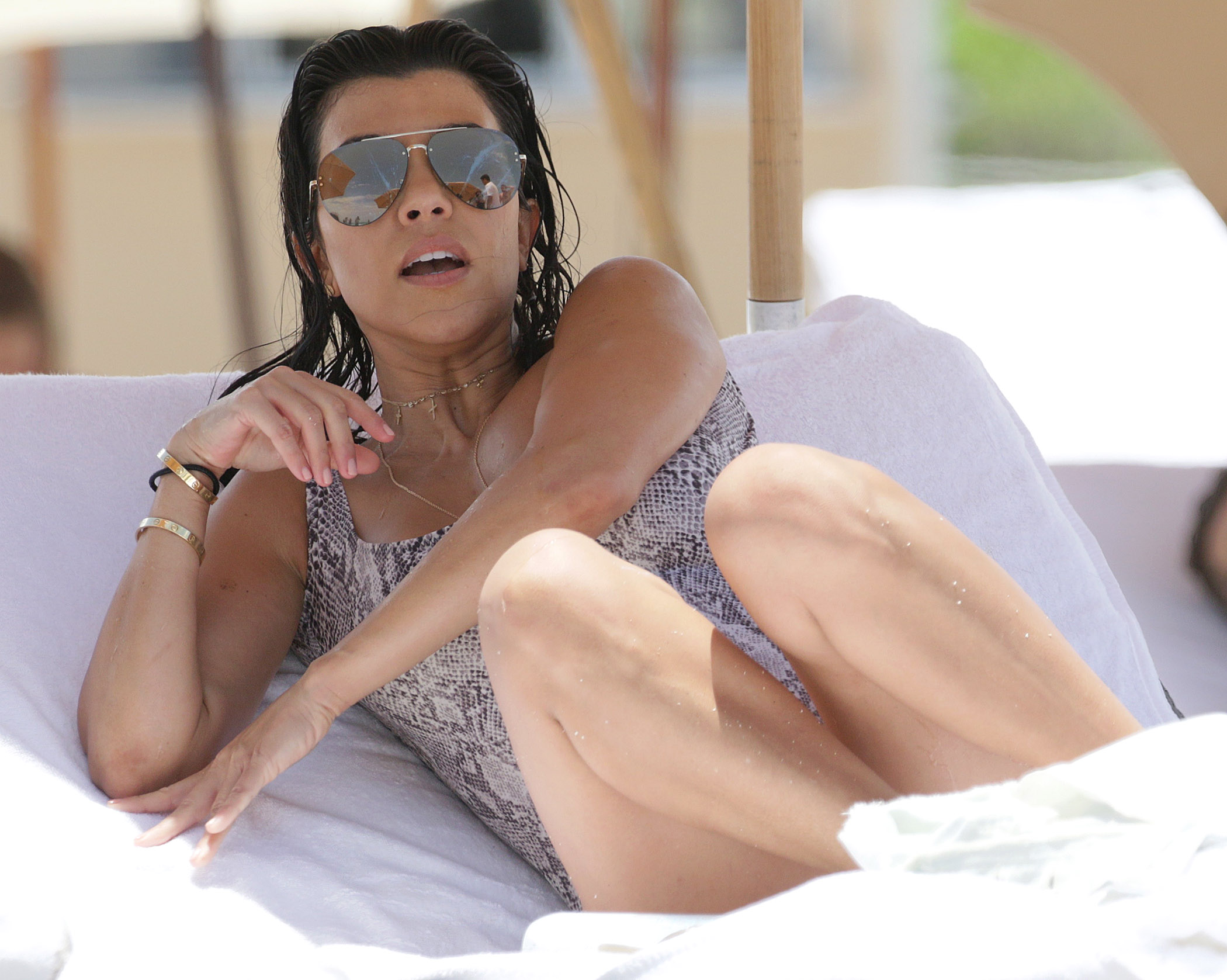 Kourtney Kardashian And Kids Seen Enjoying The Beach In Miami