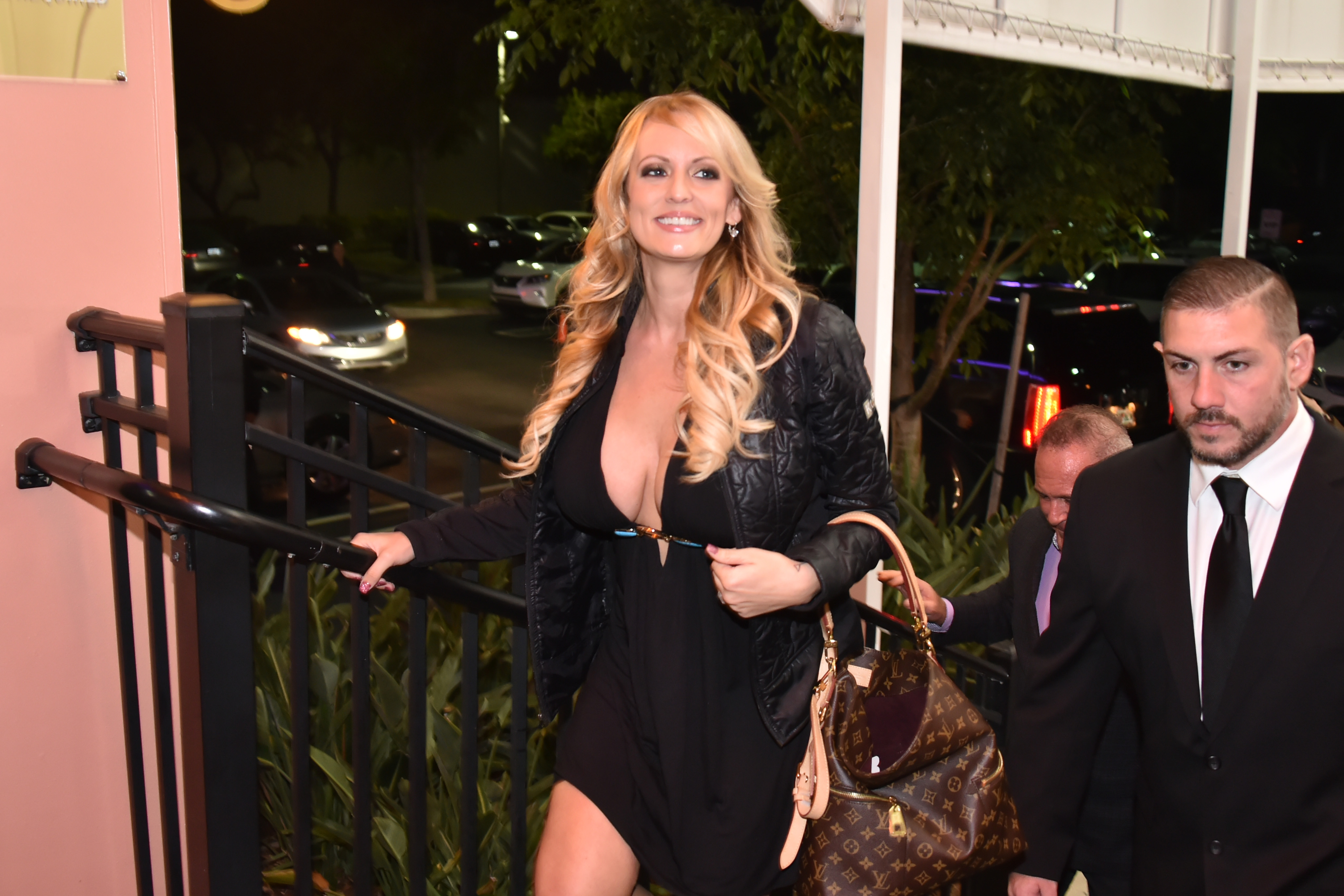 Stormy Daniel arrives at the Solid Gold, Pompano Beach, Florida