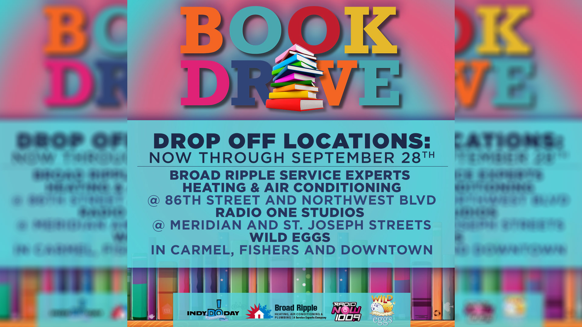 Radio Now Book Drive Graphic