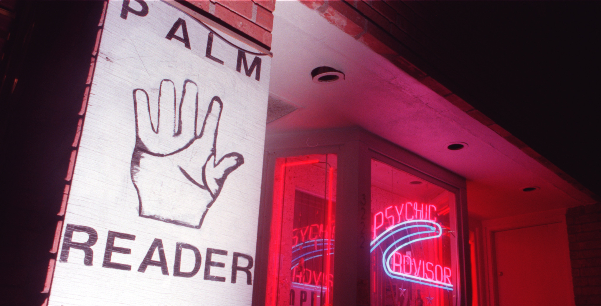 ME.sign.1227.CW Exterior of a psychic/palm reading shop located on 6th Street in Los Angeles, shot W