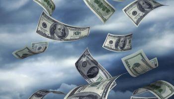 Hundred dollar bills falling - Highly detailed money images on sky background