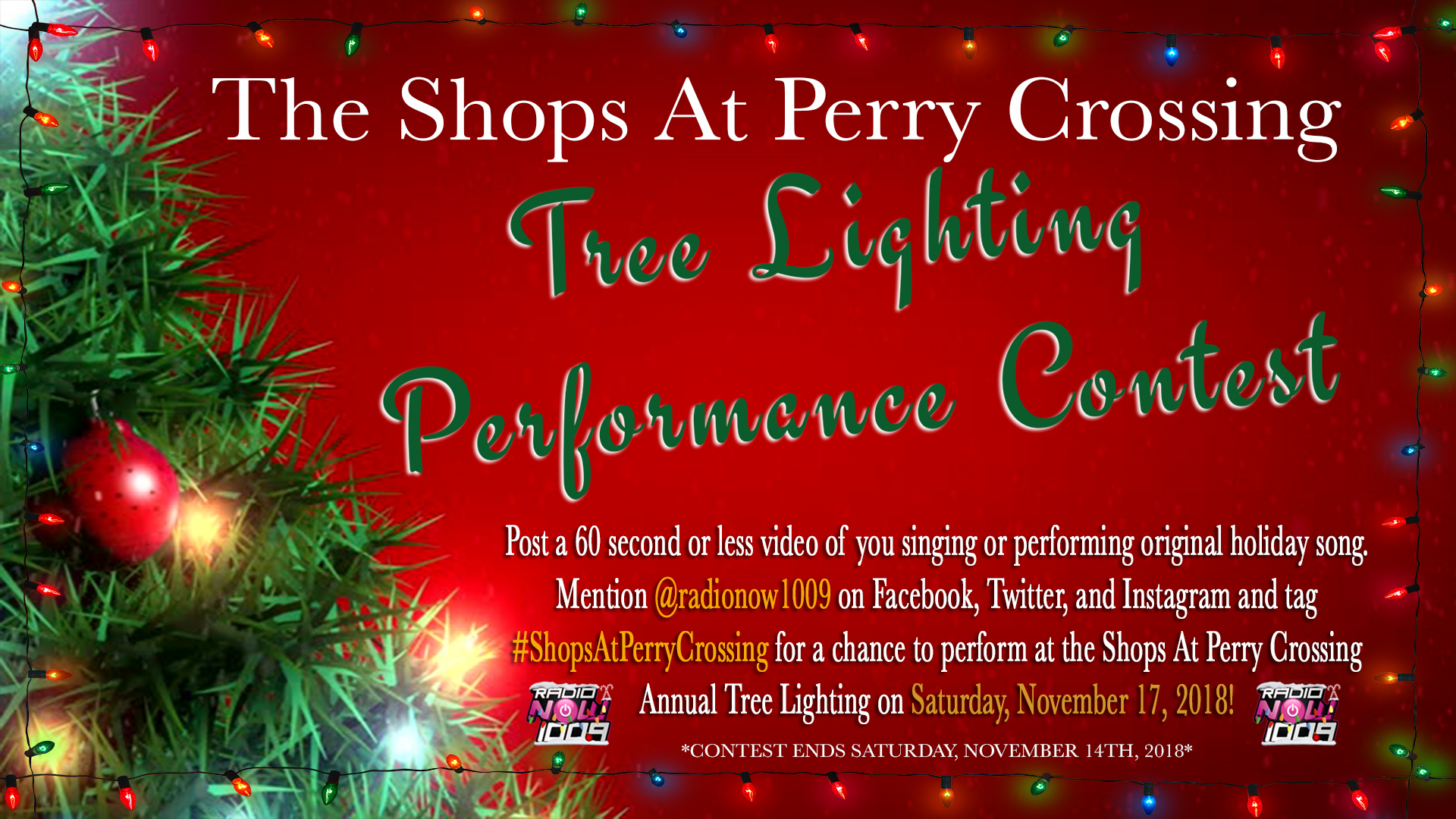 Radio Now - Tree Lighting Performance Contest Flyer