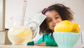 African American girl selling lemonade