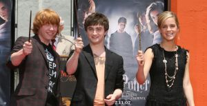 Rupert Grint, actor Daniel Radcliffe and actress Emma Watson attend the Harry Potter cast 'Hand, Foot and Wand-Print' ceremony held at Grauman's Chinese Theater July 9, 2007