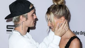 Singer Justin Bieber and wife/model Hailey Rhode Baldwin Bieber arrive at the Los Angeles Premiere Of YouTube Originals' 'Justin Bieber: Seasons' held at the Regency Bruin Theatre on January 27, 2020 in Westwood, Los Angeles, California, Uni