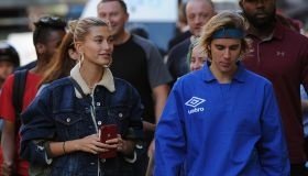 Justin Bieber and fiancee Hailey Baldwin enjoy a walk in Central London, stopping for a drink and a bite to eat in coffee shop Joe & The Juice.