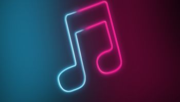 Neon light of musical tone with red and blue colors. Streaming music services for mobile devices.